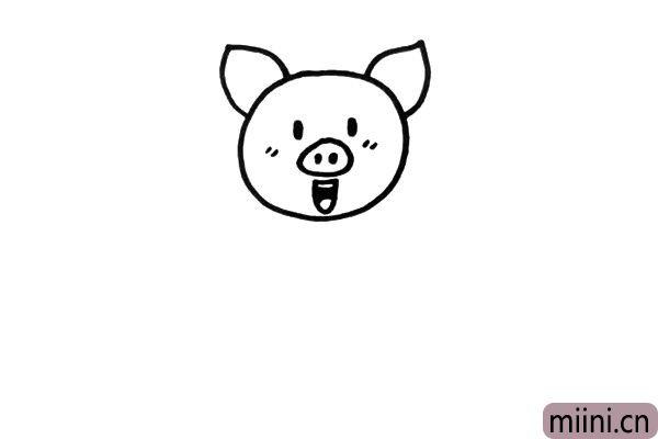 2.大大的猪耳朵是它的特征,要表现到位,还有它的五官。