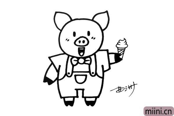 4.画出四肢还有手上的冰淇淋,当然了,你也可以把冰淇淋换成其他食物。
