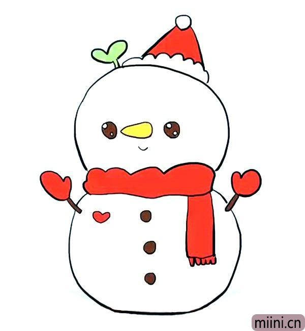 8.给圣诞雪人涂上漂亮的颜色。