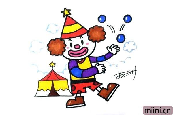 马戏团玩球的小丑简笔画步骤教程