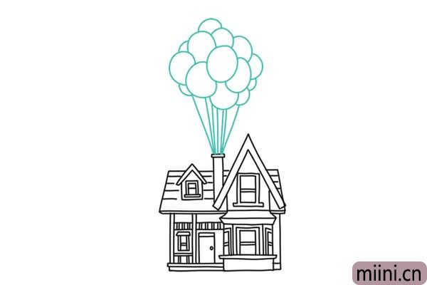 10.接下来就画从烟囱里飘上来的气球。