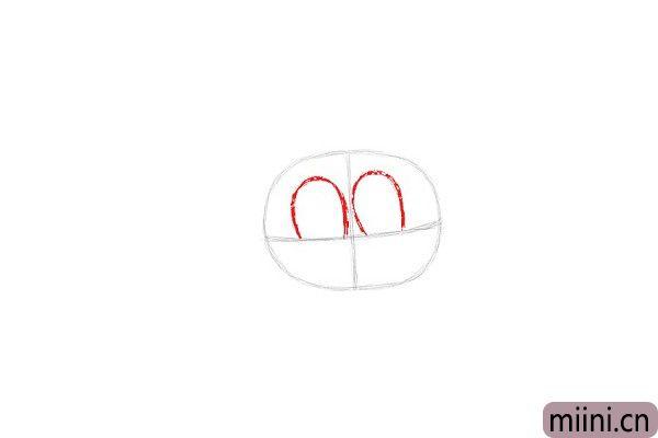 3.在水平线上画两个高弧形作为Anais眼睛的素描线条。