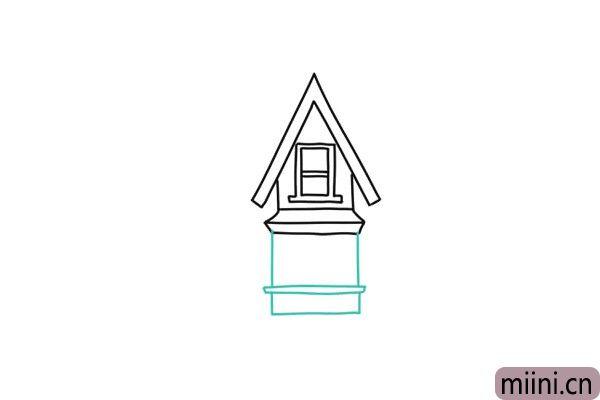 4.用长方形画下面一层的墙体和窗台。