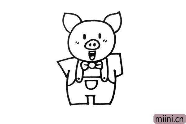 3.这只小猪是用了拟人化的画法,所以要给它穿上衣服。