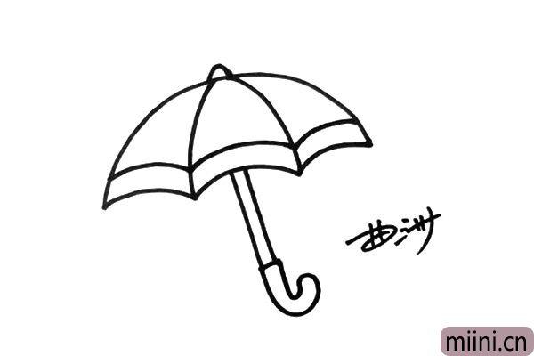 4.伞的花纹和装饰很多,这里小朋友们可以自己发挥,画出与众不同的设计。