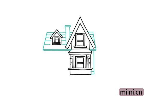 7.这一步画房子的主屋顶和烟囱。