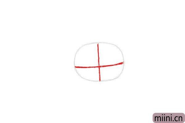 2.接下来,在椭圆上绘制两条相交的线,一条垂直线和一条水平线。垂直线应该在椭圆形的中间正确,而水平线应该更靠近底部。用来确定Anais的五官位置。