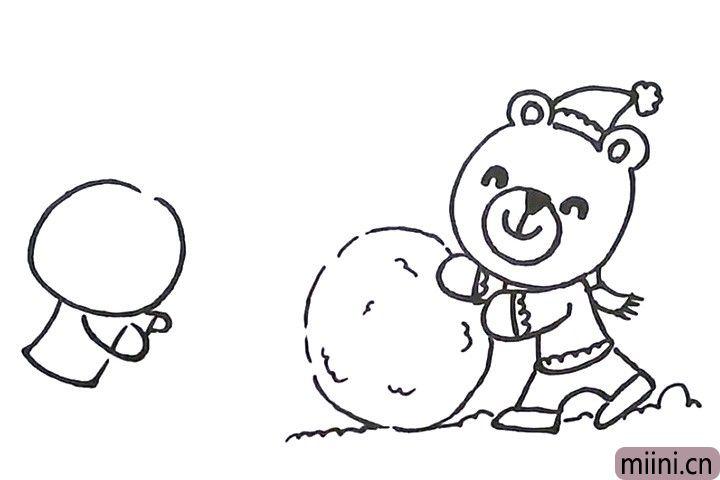 8.接着画小兔子的身体和胳膊。