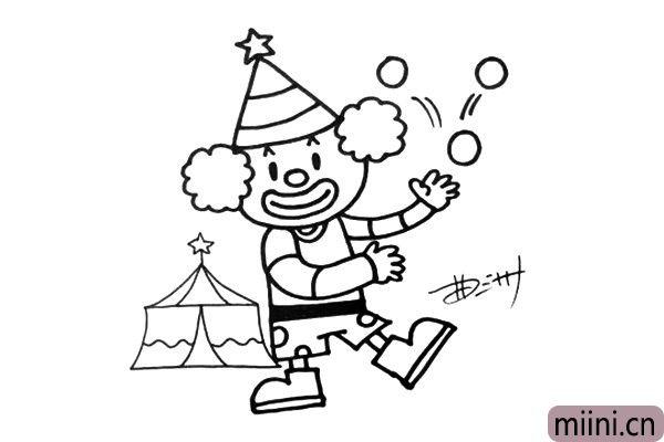 5.原来小丑正在表现抛球呢,画画千万别忘了背景哟。