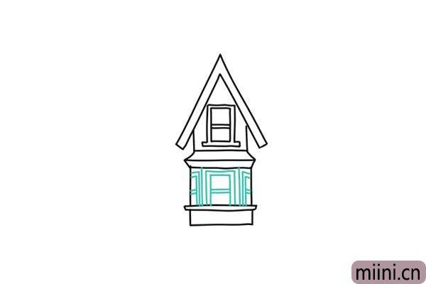 5.接着画下面一层房屋的窗户轮廓。