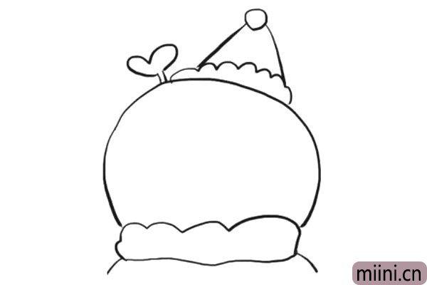 3.给雪人画上围巾,并在它的头上画一个小装饰。