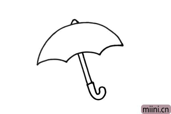 3.画好伞面之后,我就要画出雨伞的把手了。