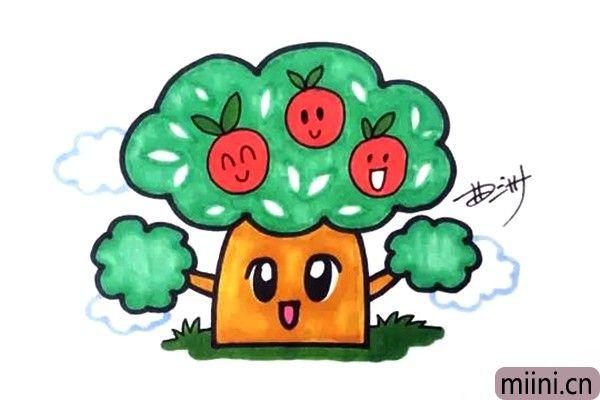 结满硕果的苹果树简笔画步骤教程