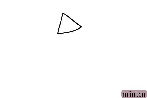 1.我们从人物的头部开始画起,先用一个三角形画出帽子的轮廓。