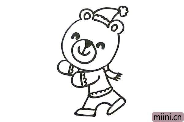 5.给小熊画上帽子、围巾、还有衣服上的花纹。