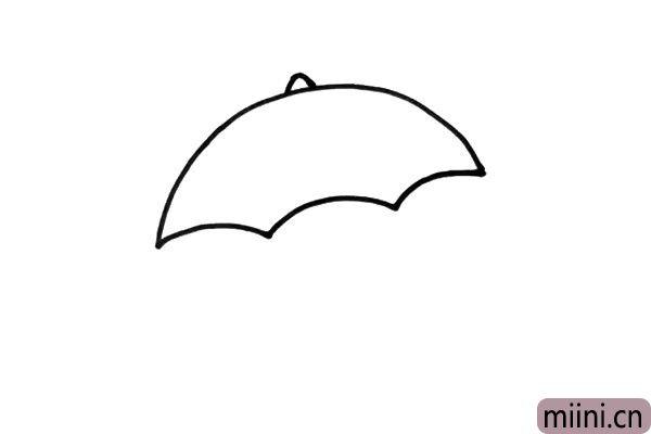 2.再用三根短弧线,把伞面的部分画完整。