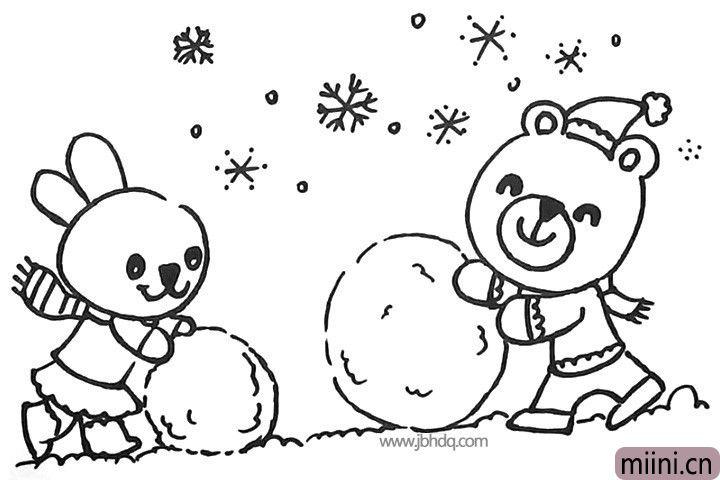 13.在画面空白的地方画上飘着的雪花。