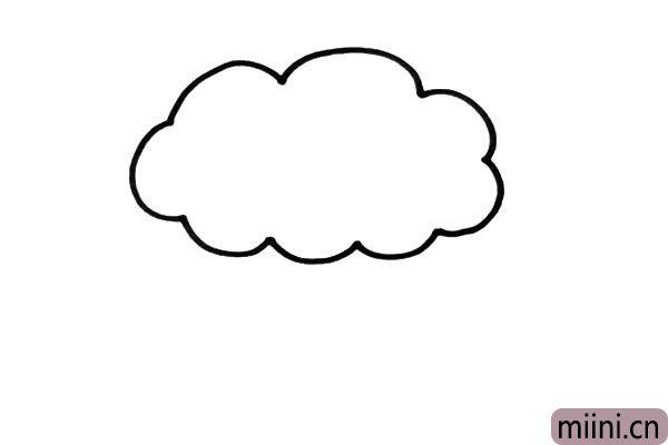 1.我们先要使用连续的弧线的技巧,来画出果树的树冠,像不像一片云呢。