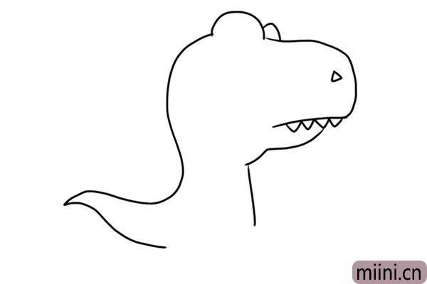 3.画出霸王龙的牙齿和身体轮廓。