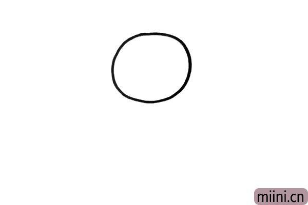 1.小猪先从头部画起,用一个大大的圆形画出头部的轮廓。