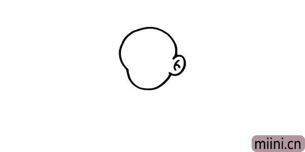 1.画孙悟空,我们要从头部开始画,注意头部的线条轮廓。