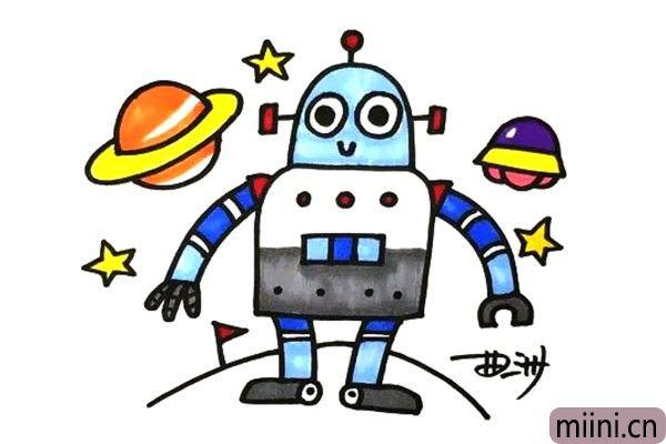 在宇宙遨游的机器人简笔画步骤教程