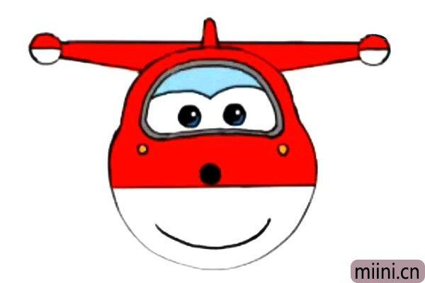 6.最后给乐迪涂上颜色,脸的上部和机翼都是红色的、眼框是灰色的、眼帘是淡蓝色的、眼睛鼻尖是黑色的,酒窝是黄色的。我们可爱的乐迪就画好了。