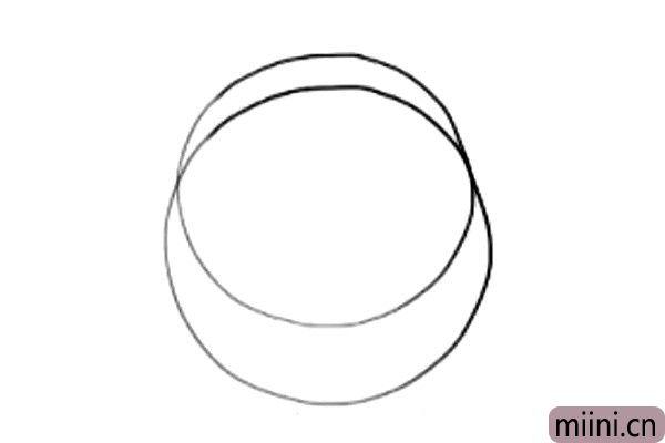 1.画两个交叉的圆,乐迪的脸是由两个圆组成的。