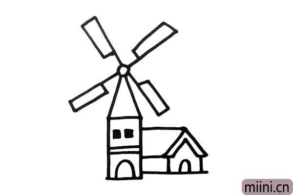 2.在风车小屋的后方,你还可以加上几座小房子,注意造型要有变化。