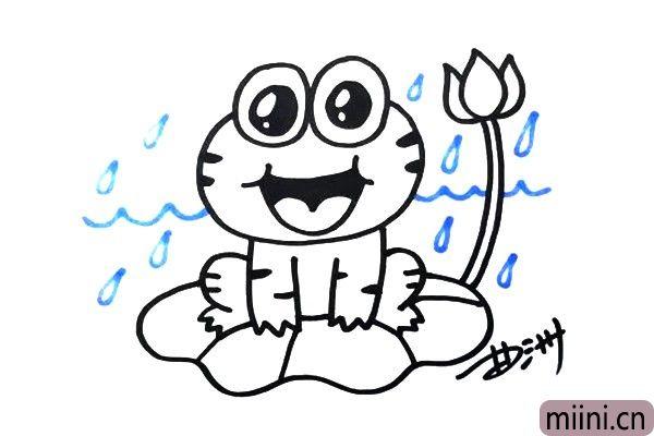 """4.突然下雨了,天气变得非常的凉爽,小青蛙高兴的""""呱呱""""叫。"""
