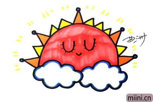 4.为这个太阳宝宝涂上颜色吧,它是不是很可爱呢,你也赶紧动手画一个吧。