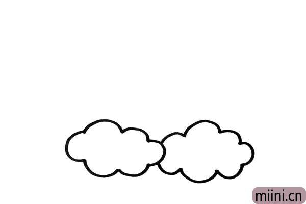 """1.首先,先画出两朵柔软的白云,这就是太阳宝宝的""""床垫""""。"""