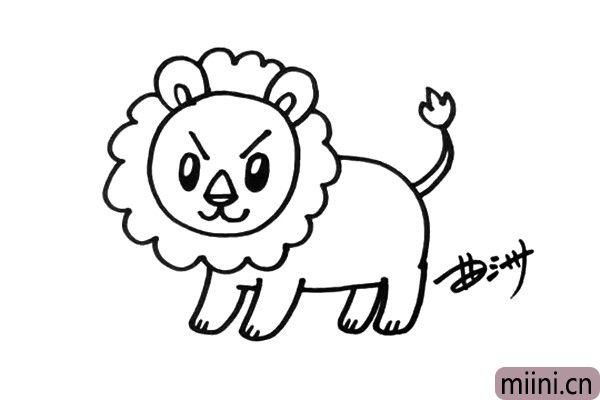 4.四条腿都要画的很清楚,再画出狮子的尾巴。