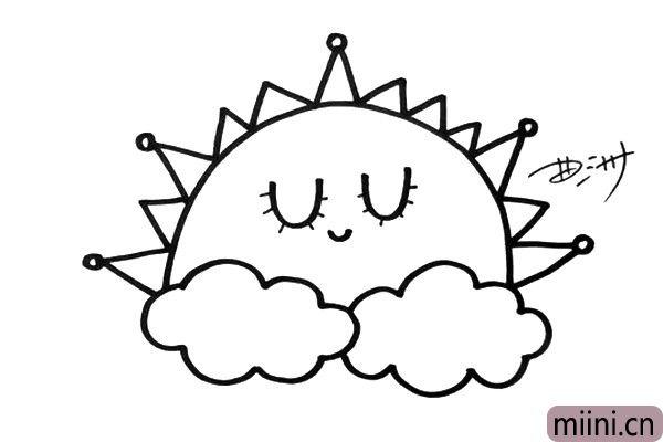 3.然后,画出太阳的光芒和表情,它正悠闲的睡觉呢。