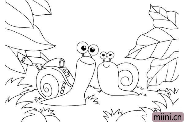 8.再画出几片大大的叶子,蜗牛很小,所以叶子显得很大。