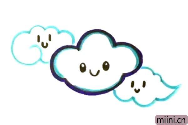 4.用同样的方法画出另外两朵重叠的云朵。