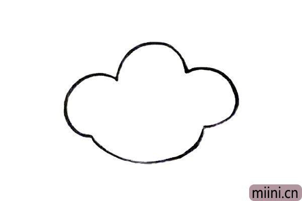 1.画四条弧线相连,形成一个大大的云朵。