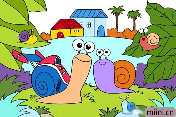 跑的很快的极速蜗牛简笔画步骤教程