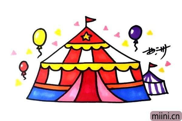 5.上色的时候颜色要鲜艳一些,这样才能表现出快乐的感觉。老师期待你们画出马戏团的演员和观众,另外再为这个马戏团取个名字吧。