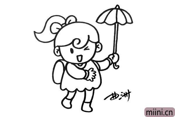 4.接着把人物画完整,你可以为她设计一把伞。