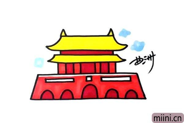 北京天安门简笔画步骤教程