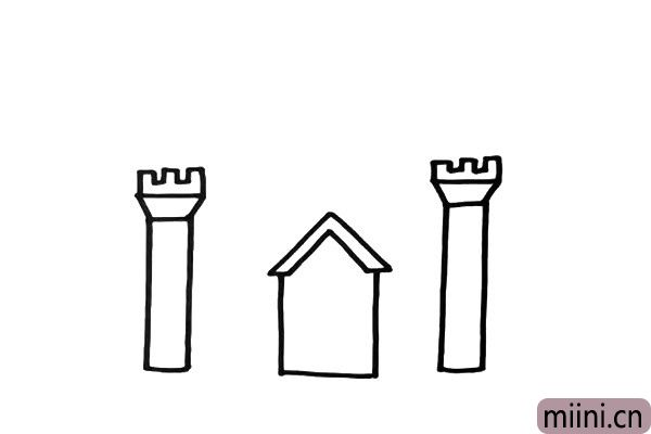 2.画出两边高高的塔楼,线条尽量画的直一点。