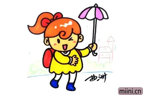 下雨打伞的小女孩简笔画步骤教程