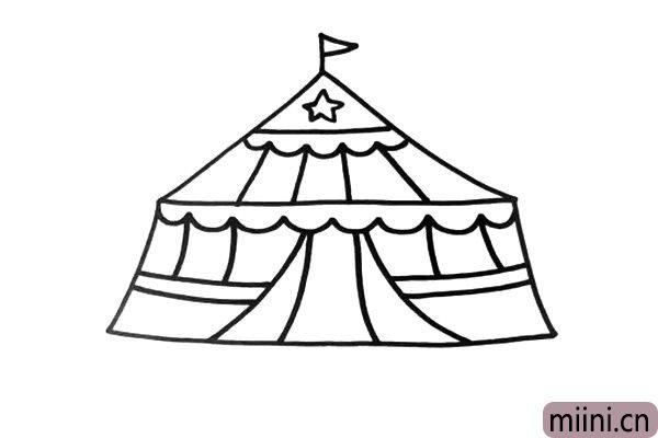3.为马戏团大棚认真的装饰一番,画上自己喜欢的图案。