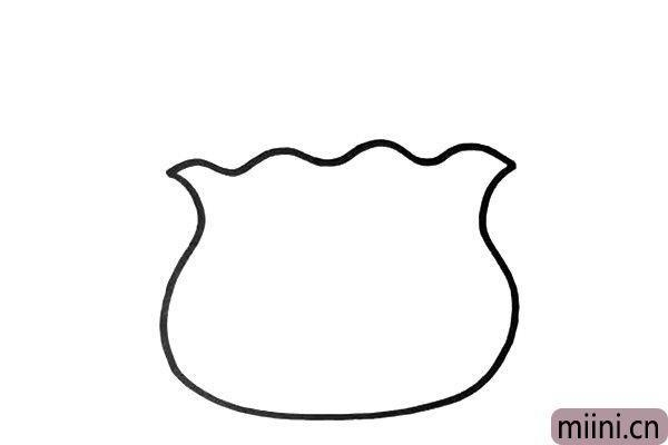 1.我们先画出鱼缸的轮廓,鱼缸要画的对称,这里有点难,多尝试几次吧。