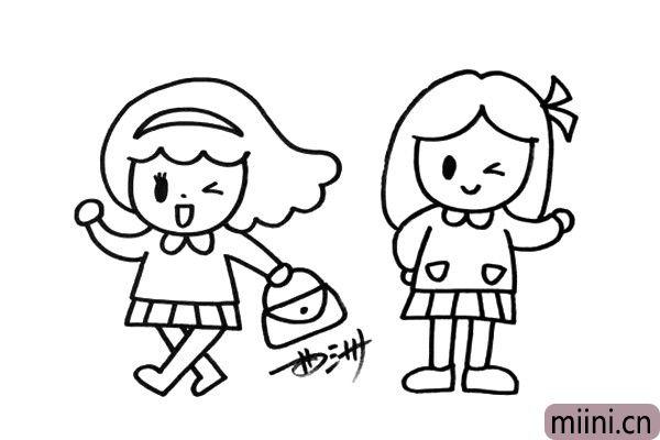 5.在画面的右边,我再画出一个小女生。