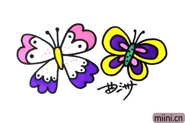 两只绚丽斑斓的蝴蝶简笔画步骤教程