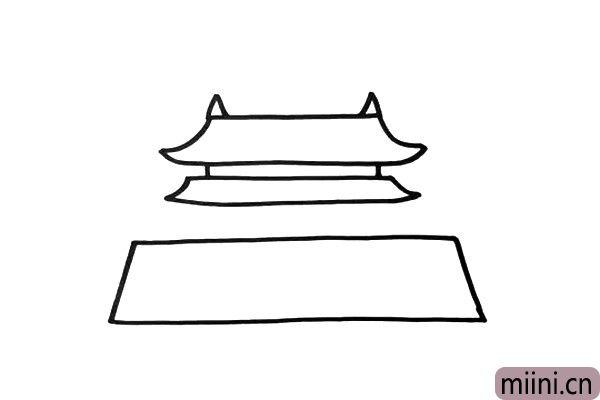 2.画出两层屋顶,再画出梯形的城墙。