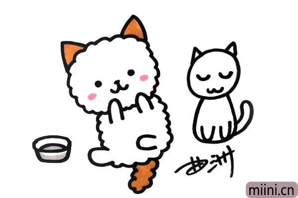 很可爱的白色的两只小猫咪简笔画步骤教程
