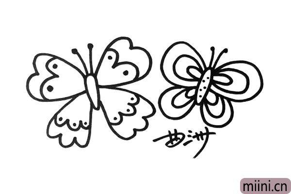 5.现在开始画第二只、第三只,一定要区别于其他蝴蝶的造型。